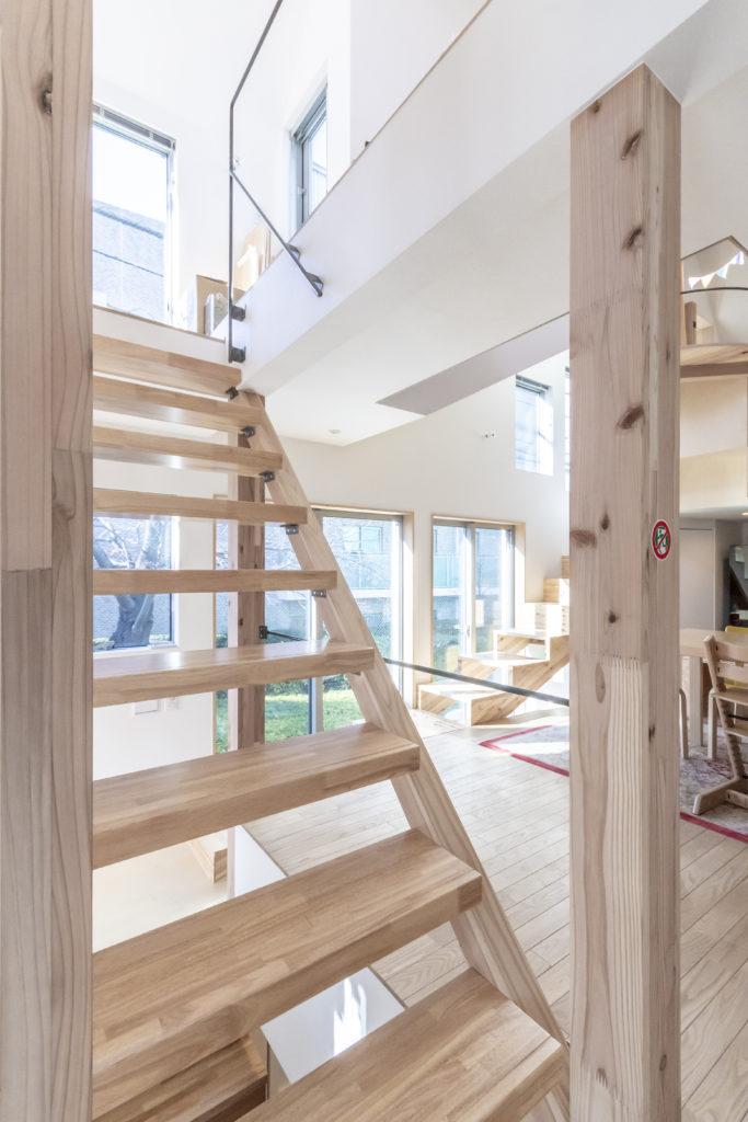 ねじれた位置関係にある階段が空間の回遊性を高めている。