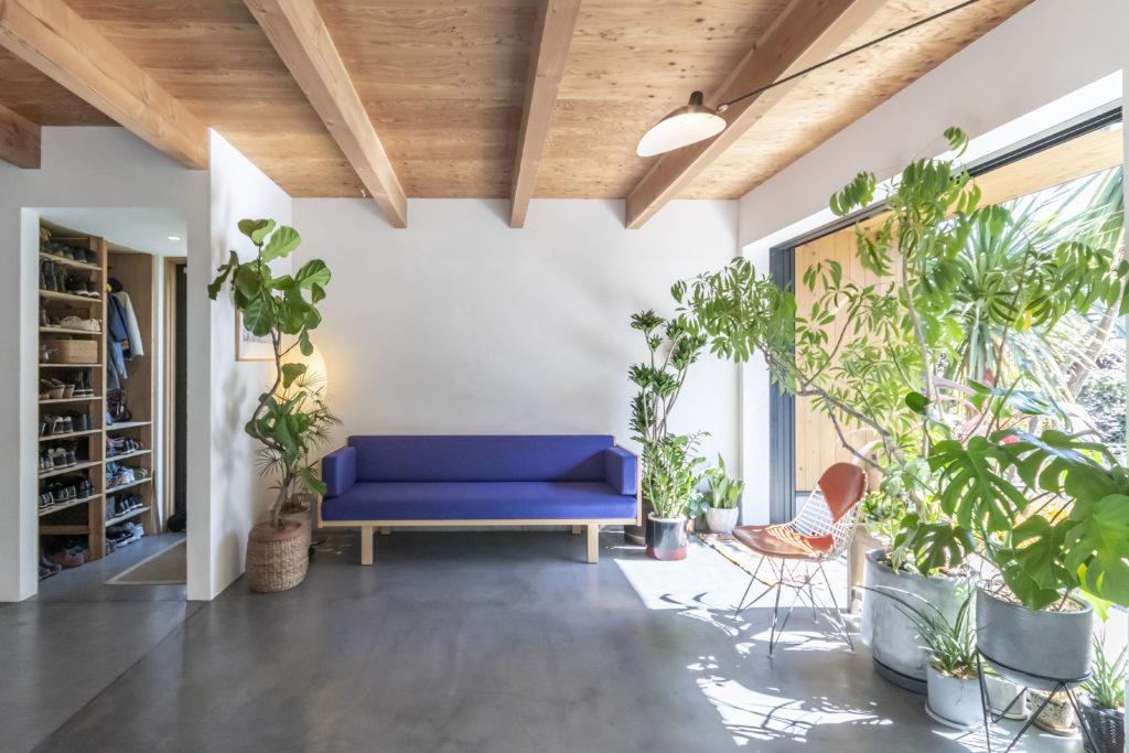 モンステラやサンスベリアなどインドアグリーンが、庭との境界を曖昧にする。玄関は左手のシューズクローゼットの奥に。正面のソファーはハンス・J・ウェグナー。