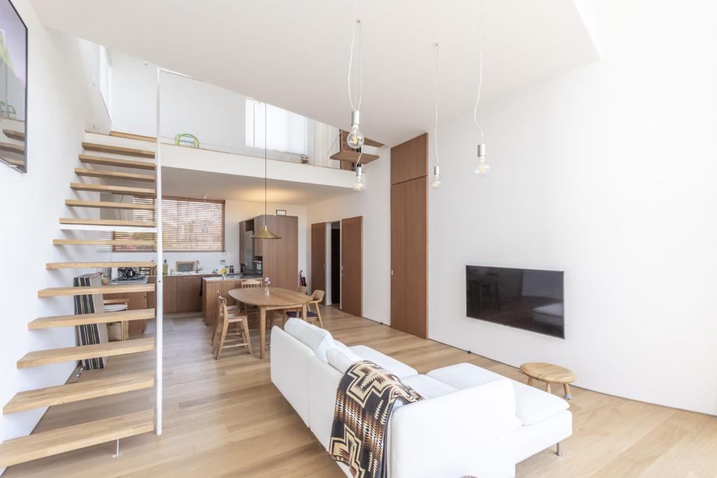 大きな開口側(南側)から1階の室内を見る。大きな一室空間のなかに3つのレベルのフロアがつくられている。建具や家具はすべてラワン材で製作されている。
