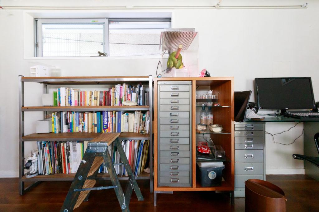 スチールと古材を組み合わせた左側の本棚も『H.I.D』でオーダー。『BISLAY』のスチールキャビネットとも相性がよい。保温電球で照らされているのは、共に暮らして15年になるというグリーンパイソン。「最初は箸くらい小さかったのが今は170cmほどに。ヘビは手がかからないので、忙しい人にも飼いやすいですよ」
