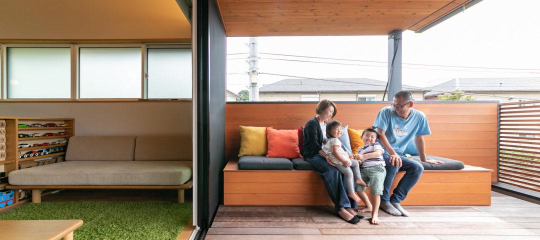 インナーテラスを最大限に活用 子育てに優しい職住一体住宅