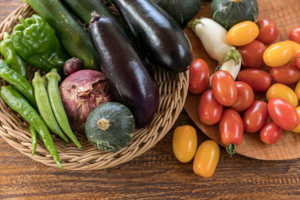収穫したばかりの色とりどりの野菜