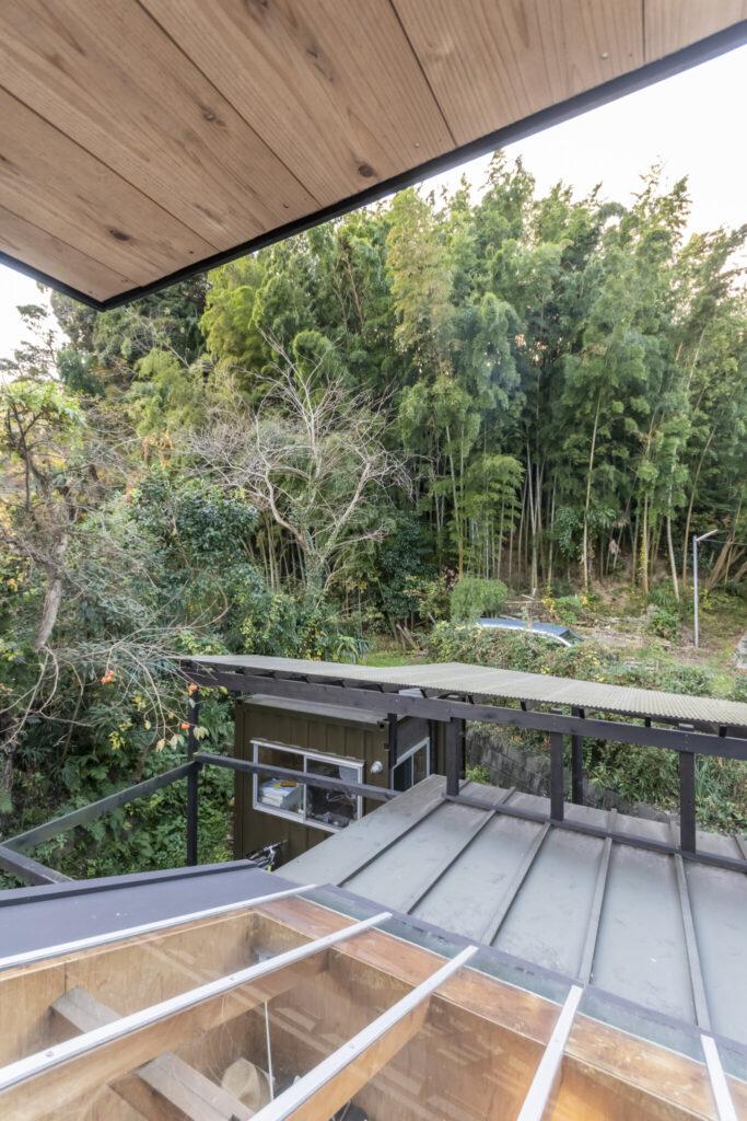 2階の寝室から裏山の竹林を見る。手前に見えるのはリビングの天窓。