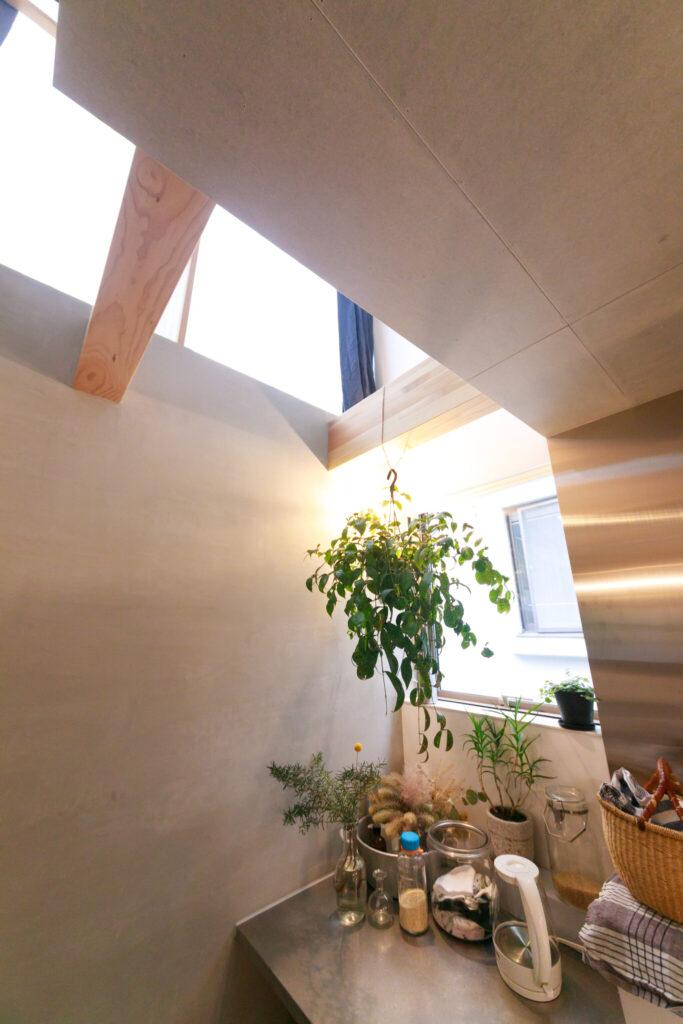 キッチンの奥は吹き抜けになっているため、3階からの光がたっぷり降り注ぐ。