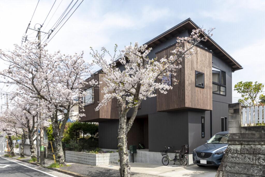 桜並木に面した敷地。2つの木の箱が飛び出したようなユニークな外観は、道行く人も足を止める。