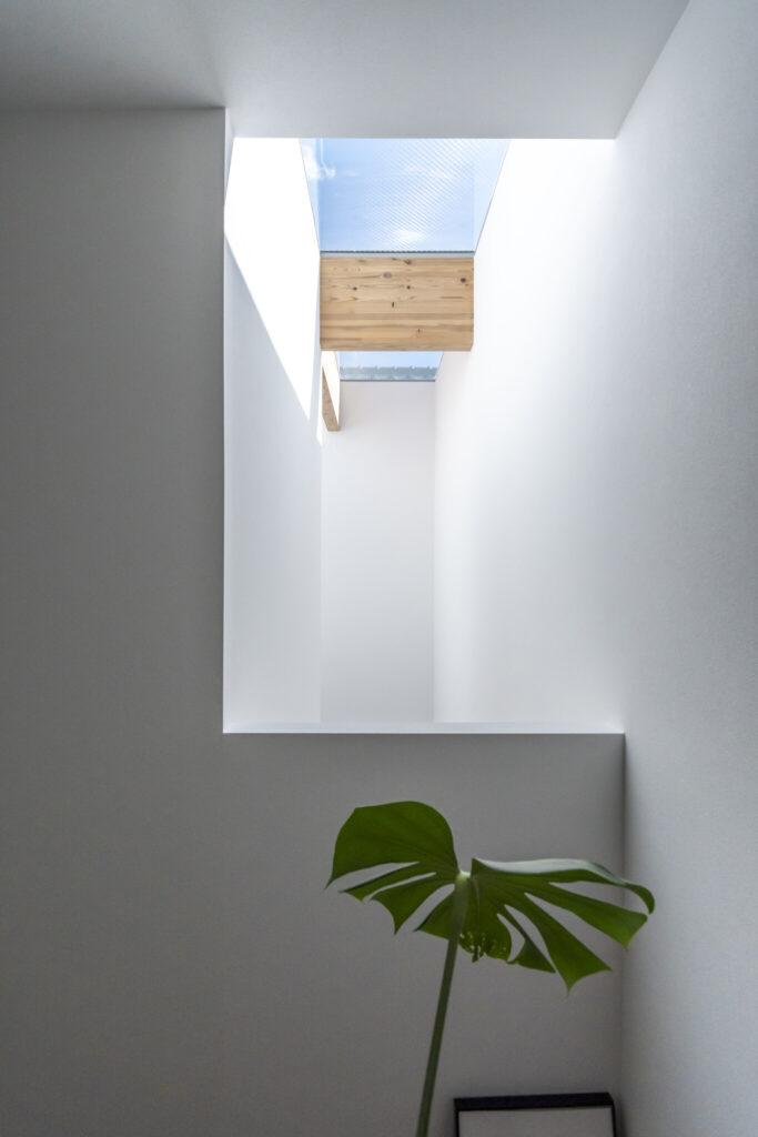 寝室のある2階の廊下から吹き抜けを見る。