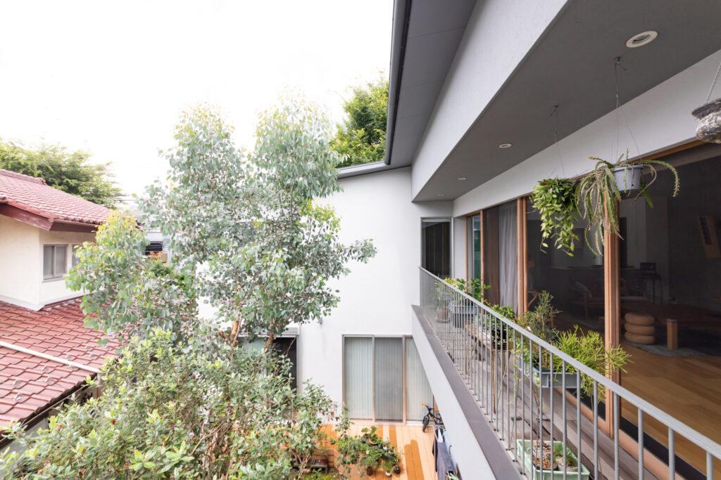 庭の植栽は渋谷区恵比寿の園芸店『buzz』にお願いした。縁側のようなベランダには、主に啓太さんがセレクトした多肉植物や観葉植物が並ぶ。